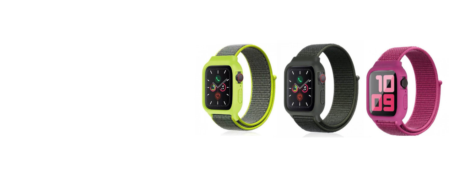 iwatch Silicon Case with nylon strap for apple watch