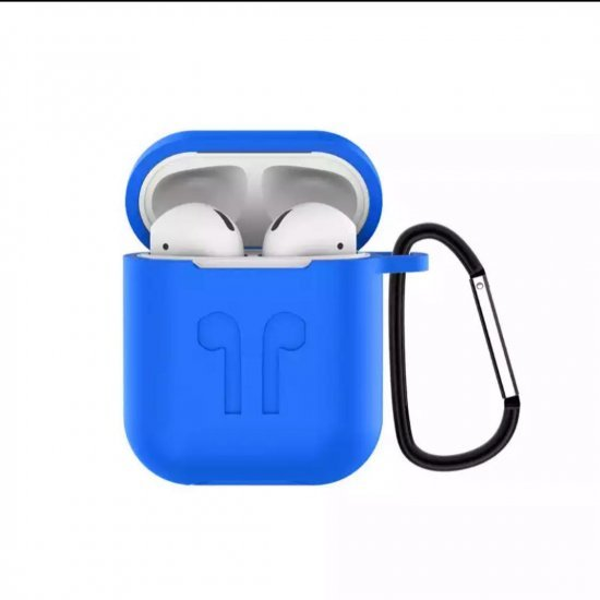 Soft Silicon Protective Carrying Case / Cover For Apple Airpods Headsets - Olympic Blue
