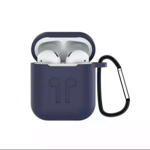 Soft Silicon Protective Carrying Case / Cover For Apple Airpods Headsets -Dark Blue