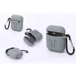 Soft Silicon Protective Carrying Case / Cover For Apple Airpods Headsets -  Gray