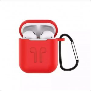 Soft Silicon Protective Carrying Case / Cover For Apple Airpods Headsets -  Red