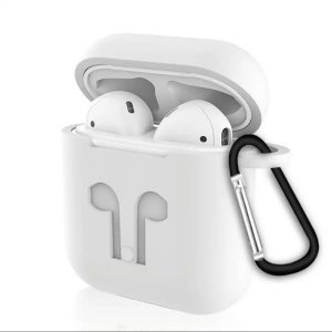Soft Silicon Protective Carrying Case / Cover For Apple Airpods Headsets - White