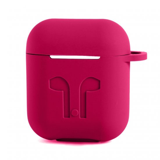 Soft Silicon Protective Carrying Case / Cover For Apple Airpods Headsets -  Rich Rouge