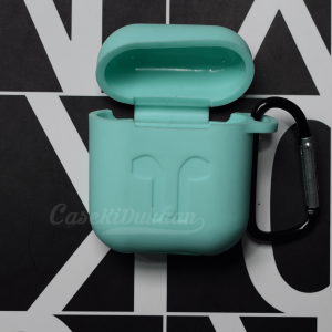 Soft Silicon Protective Carrying Case / Cover For Apple Airpods Headsets -  Bluish Green