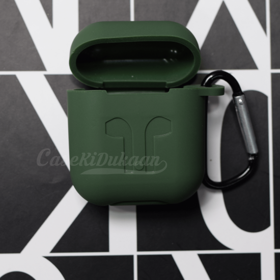 Soft Silicon Protective Carrying Case / Cover For Apple Airpods Headsets - Forest Green