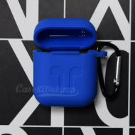 Soft Silicon Protective Carrying Case / Cover For Apple Airpods Headsets - Royal Blue