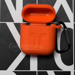 Soft Silicon Protective Carrying Case / Cover For Apple Airpods Headsets -  Orange