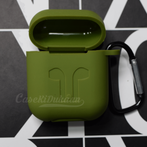 Soft Silicon Protective Carrying Case / Cover For Apple Airpods Headsets -  Stud Green