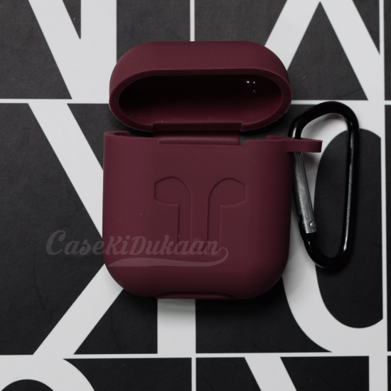 Soft Silicon Protective Carrying Case / Cover For Apple Airpods Headsets -  Wine