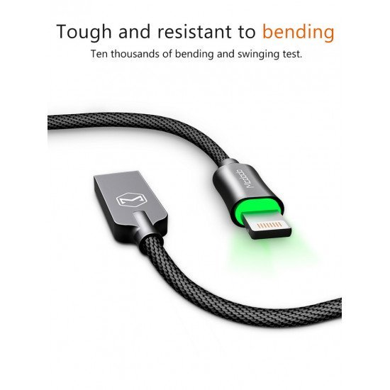 Mcdodo For Apple IPHONE Led Lighting Data Charging Cable Auto -Disconnect 1.8m (Black)