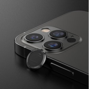 Metal Ring Camera Lens Screen Protector Tempered Glass for iPhone Black - Set of 2/3