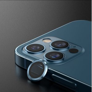 Metal Ring Camera Lens Screen Protector Tempered Glass for iPhone Pacific Blue - Set of 2/3