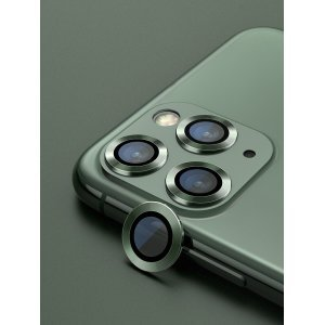 Metal Ring Camera Lens Screen Protector Tempered Glass for iPhone Midnight Green - Set of 2/3