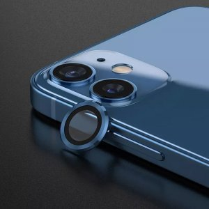 Metal Ring Camera Lens Screen Protector Tempered Glass for iPhone Blue - Set of 2/3