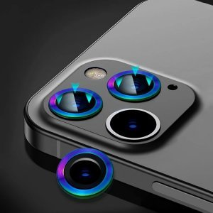Metal Ring Camera Lens Screen Protector Tempered Glass for iPhone Rainbow - Set of 2/3
