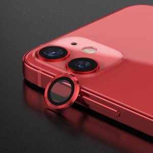 Metal Ring Camera Lens Screen Protector Tempered Glass for iPhone Red - Set of 2/3