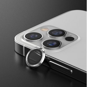 Metal Ring Camera Lens Screen Protector Tempered Glass for iPhone Silver - Set of 2/3