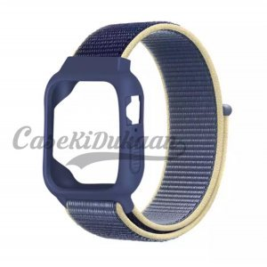 iWatch Silicon Case With Nylon Velcro Strap Compatible With Apple iWatch Series 1-2-3-4-5-6-SE Dark Blue