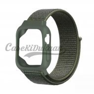 iWatch Silicon Case With Nylon Velcro Strap Compatible With Apple iWatch Series 1-2-3-4-5-6-SE Army Green