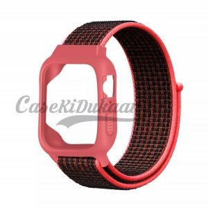 iWatch Silicon Case With Nylon Velcro Strap Compatible With Apple iWatch Series 1-2-3-4-5-6-SE  Pink Black