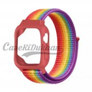 iWatch Silicon Case With Nylon Velcro Strap Compatible With Apple iWatch Series 1-2-3-4-5-6-SE RainBow Colour