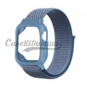 iWatch Silicon Case With Nylon Velcro Strap Compatible With Apple iWatch Series 1-2-3-4-5-6-SE Sky Blue