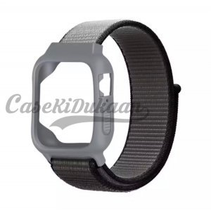 iWatch Silicon Case With Nylon Velcro Strap Compatible With Apple iWatch Series 1-2-3-4-5-6-SE Gray Black