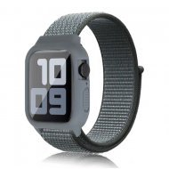 iWatch Silicon Case With Nylon Velcro Strap Compatible With Apple iWatch Series 1-2-3-4-5-6-SE Gray Blue