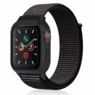 iWatch Silicon Case With Nylon Velcro Strap Compatible With Apple iWatch Series 1-2-3-4-5-6-SE Mix Black
