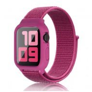 iWatch Silicon Case With Nylon Velcro Strap Compatible With Apple iWatch Series 1-2-3-4-5-6-SE Purple