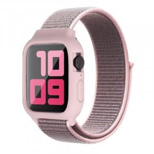 iWatch Silicon Case With Nylon Velcro Strap Compatible With Apple iWatch Series 1-2-3-4-5-6-SE Sand Pink