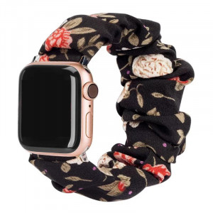 Girly Cloth Black Color Flower Pattern iWatch Scrunchies Strap Compatible with Watch Series Se/6/5/4/3/2/1