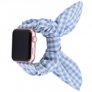 Girly Cloth Chex Blue Pattern iWatch Scrunchies Strap Compatible with Watch Series Se/6/5/4/3/2/1