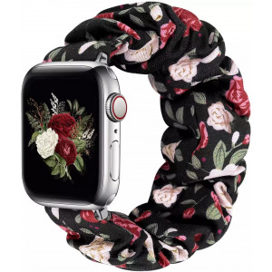 Girly Cloth Multi Color Flower Pattern iWatch Scrunchies Strap Compatible with Watch Series Se/6/5/4/3/2/1