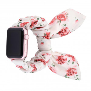 Girly Cloth Red Flower Pattern iWatch Scrunchies Strap Compatible with Watch Series Se/6/5/4/3/2/1
