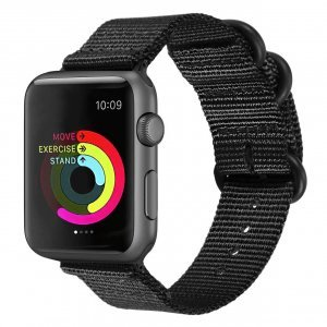 Nylon Strap Black Color Compatible with iWatch Series Se/6/5/4/3/2/1