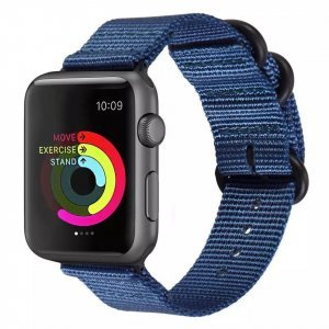 Nylon Strap Blue Color Compatible with iWatch Series Se/6/5/4/3/2/1