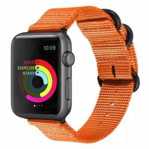 Nylon Strap Orange Color Compatible with iWatch Series Se/6/5/4/3/2/1