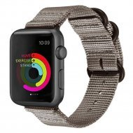 Nylon Strap Silver Brown Color Compatible with iWatch Series Se/6/5/4/3/2/1