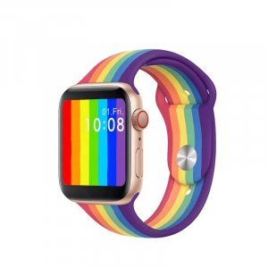 Rainbow Pattern iWatch Silicone Strap Compatible with Watch Series Se/6/5/4/3/2/1