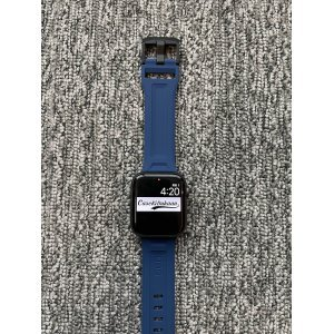 Blue iWatch Silicone Strap With Metal Lock Compatible with Series Se/6/5/4/3/2/1