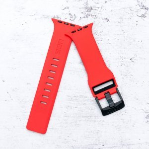 Red Black iWatch Silicone Strap With Metal Lock Compatible with Series Se/6/5/4/3/2/1