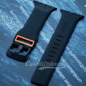 Black Orange iWatch Silicone Strap With Metal Lock Compatible with Series Se/6/5/4/3/2/1