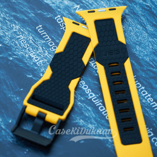 Yellow Black iWatch Silicone Strap With Metal Lock Compatible with Series Se/6/5/4/3/2/1
