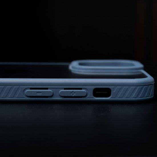Camera Protection Shockproof Transparent Blue Bumper case For iPhone
