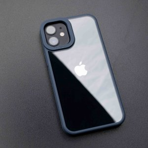 Camera Protection Shockproof Transparent Blue Bumper case For iPhone