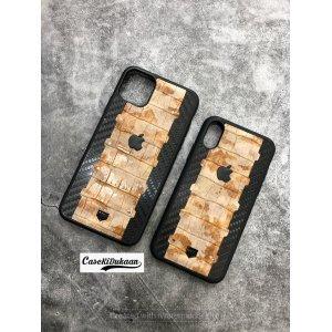 Black Brown Carbon Fibre Designer Leather Case for iPhone