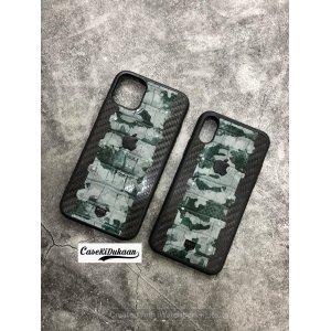 Black Green Carbon Fibre Designer Leather Case for iPhone