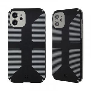 Dual Color Camera Protection Shockproof Stripe Case For iPhone : Black