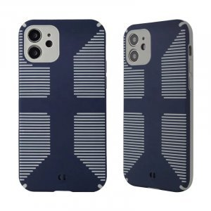Dual Color Camera Protection Shockproof Stripe Case For iPhone : Blue